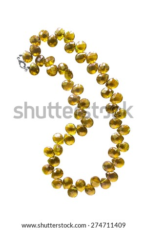 Yellow crystal beads isolated over white
