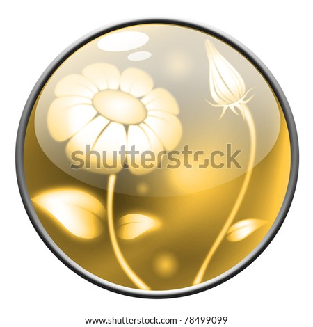yellow crystal button with flowers - stock photo