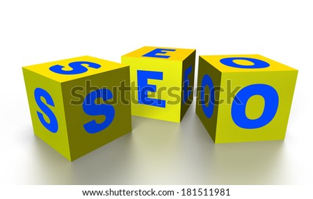 Yellow Cubes Isolated on White. Word SEO - stock photo