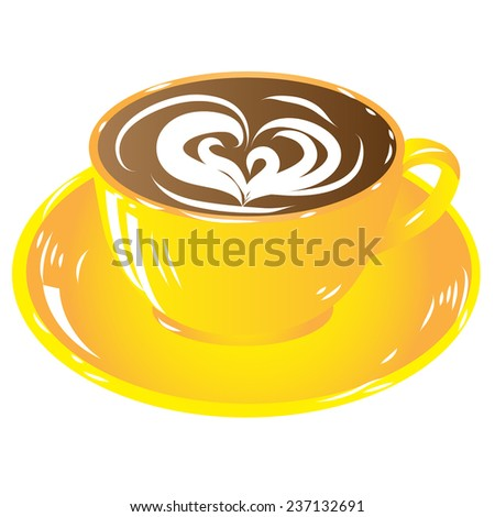 yellow cup coffee, hot drink chocolate icon isolated on white background raster illustration - stock photo
