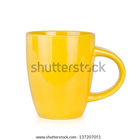 Yellow Cup Isolated on White - stock photo