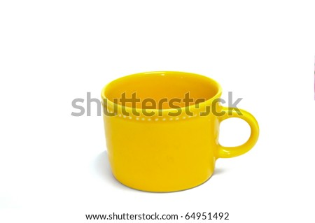 Yellow cup isolated on white background. - stock photo