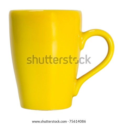 yellow cup object isolated on white background isolated - stock photo