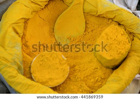yellow curry at the Market at the Village of Phaung Daw Oo at the Inle Lake in the Shan State in the east of Myanmar in Southeastasia.