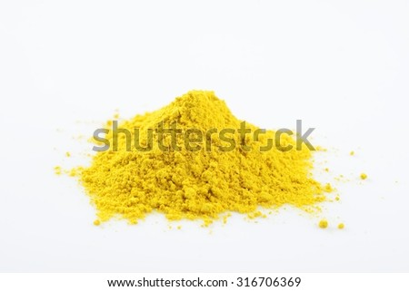 yellow curry on white background