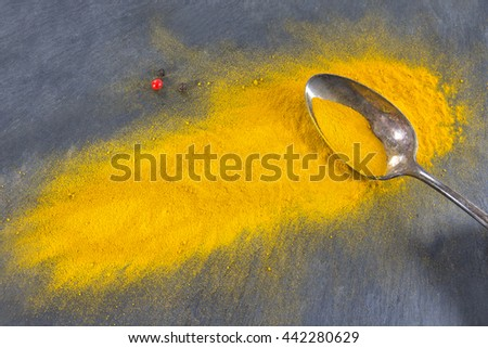 Yellow curry powder in silver spoon, isolated on slate background. - stock photo