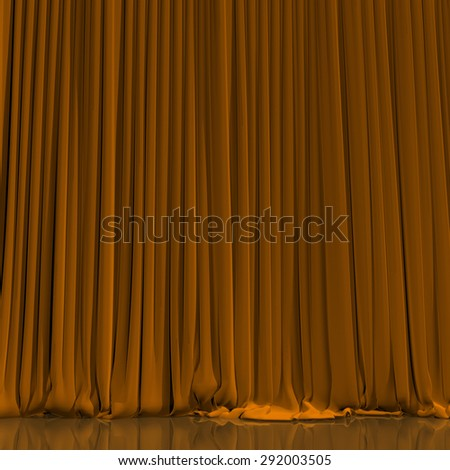 Yellow curtain with spot light on theater or cinema stage. - stock photo