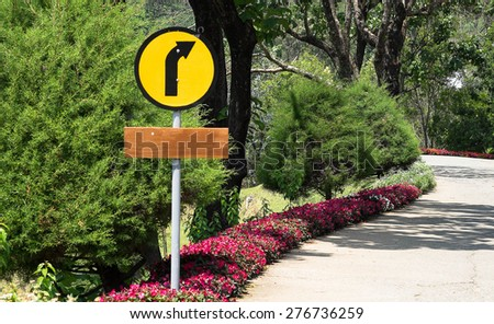 Yellow Curve Sign - stock photo