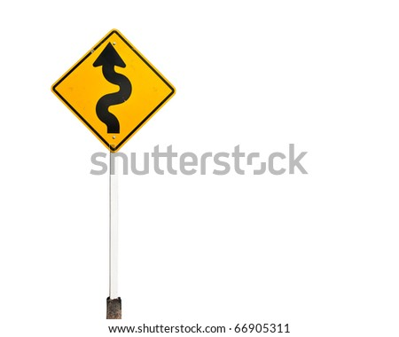 Yellow curvy road warning sign over white background - stock photo