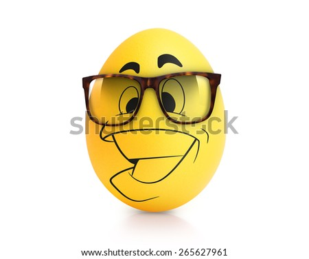Yellow cute egg with emotional face in glasses