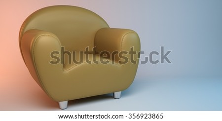 yellow 3D leather armchair - stock photo