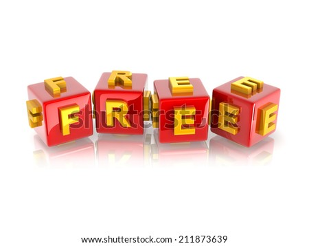 """yellow 3d text """"FREE"""" on reflective red cubes. - stock photo"""