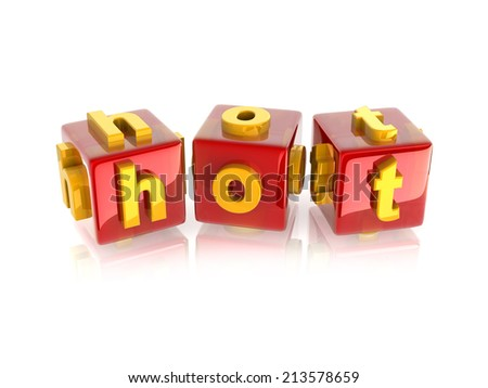 """yellow 3d text """"hot"""" on reflective red cubes. - stock photo"""