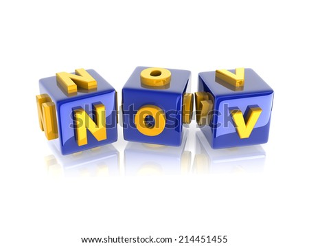"yellow 3d text ""November"" on reflective green cubes.  - stock photo"