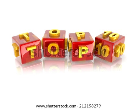 """yellow 3d text """"TOP10"""" on reflective red cubes. - stock photo"""