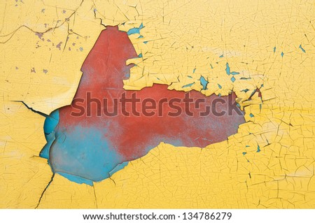 Yellow damage color on old car door. - stock photo
