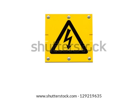 Yellow Danger of Death warning sign isolated on white