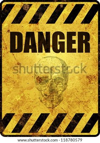 Yellow danger warning sign - stock photo