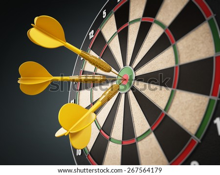 Yellow darts hit right at the center of the target