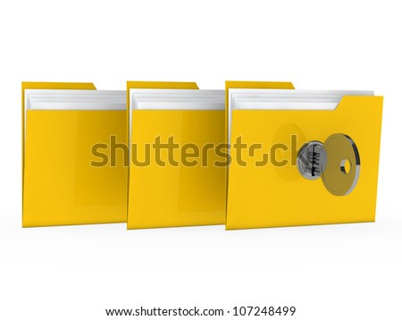 yellow data folder with paper key close - stock photo