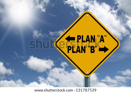 Yellow decision planning sign - stock photo