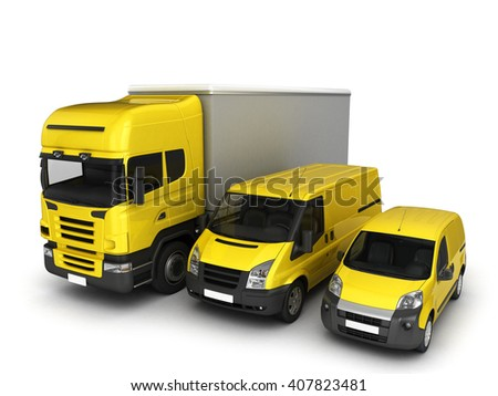 Yellow delivery cars on a white background.3D illustration. - stock photo