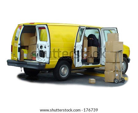 Yellow delivery van & shipping boxes. - stock photo
