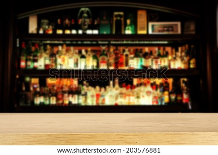 yellow desk and bar space  - stock photo