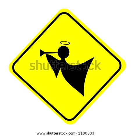 Yellow Diamond angle crossing traffic sign isolated on a white background