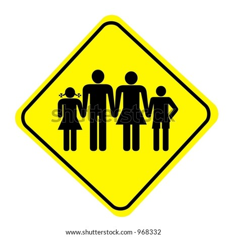 Yellow Diamond Family Sign isolated on a white background