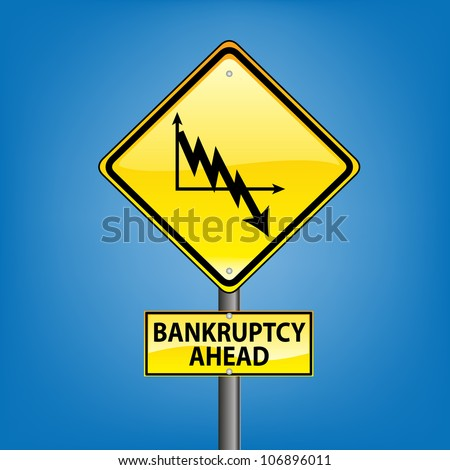 Yellow diamond hazard warning sign against blue sky - euro crisis bankruptcy ahead indication, grexit, - stock photo