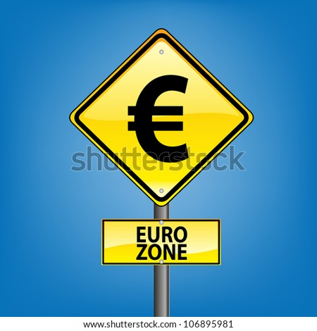 Yellow diamond hazard warning sign against blue sky - euro zone indication - stock photo