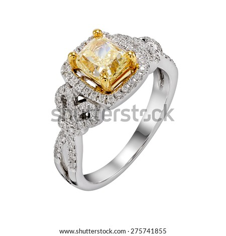 yellow diamond ring. isolate on white