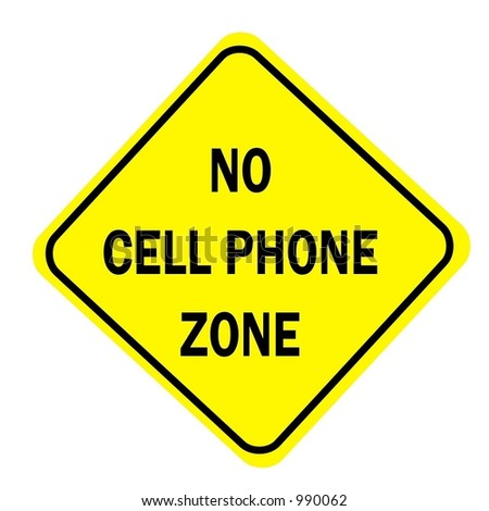 Yellow Diamond sign with a message of No Cell Phone Zone isolated on a white background - stock photo
