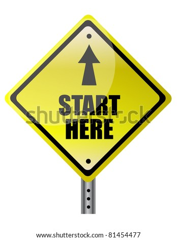 Yellow Diamond start here with up arrow sign isolated on a white background - stock photo