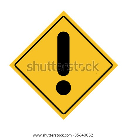 Yellow diamond warning sign with exclamation mark isolated on white background.