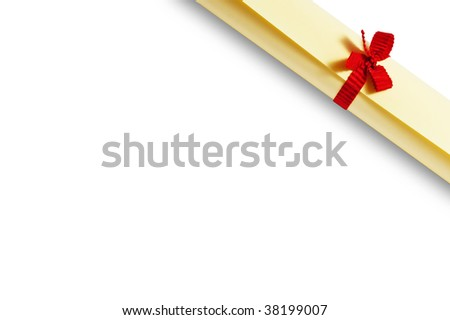 yellow diploma scroll isolated on white  background