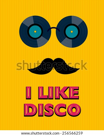 yellow disco poster with hipster - stock photo