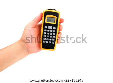 yellow distance Meter by Ultrasonic system in hand isolated on white - stock photo