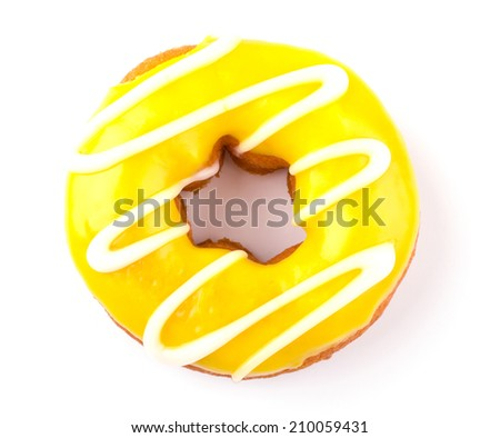 yellow donut isolated on white - stock photo