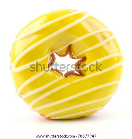 yellow donut isolated on white - stock photo