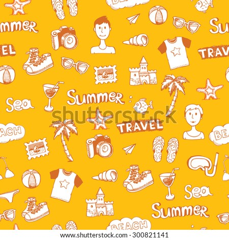 yellow doodle travel  seamless pattern