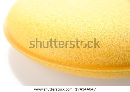 yellow double layer sponge for car waxing isolate on white background - stock photo