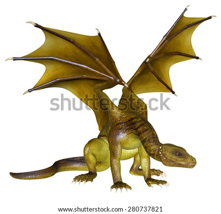Yellow Dragon - 3D rendered fantasy creature - stock photo