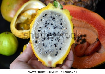 yellow dragon fruit in a hand - stock photo