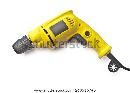 Yellow Drill isolated on white - stock photo