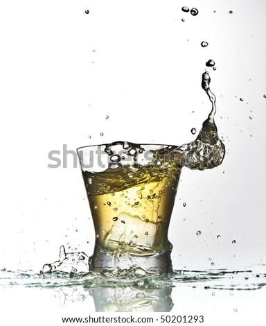 yellow drink splash - stock photo
