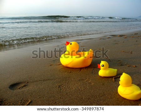 Yellow Duck Rubber Duck Duck Toys Duck On Beach Stock Photo (Royalty ...
