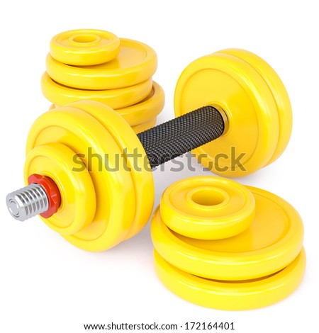 yellow dumbbells on a white background