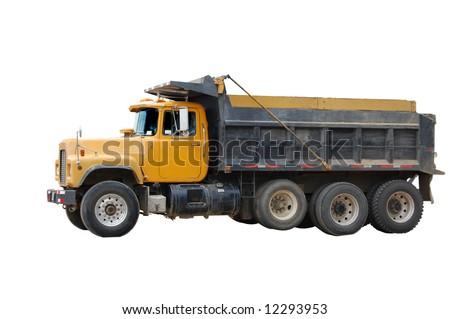Yellow Dump Truck isolated on white - stock photo